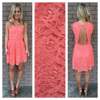 Coral Cupid Lace Open Back Dress