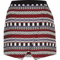 Black aztec jacquard wrap skirt
