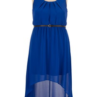 Belted Chiffon High-low plus size tank dress
