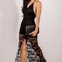 Sheer Lace Backless High Slit Evening Maxi Dress