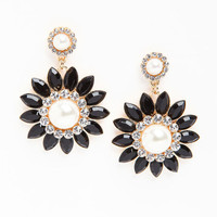 RHINESTONE AND PEARL FLOWER EARRINGS