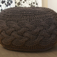 "DIY Knitting PATTERN - Pouffe / Footstool / Ottoman Super Chunky Cable Knit (approx.) 25"" diameter x 16.5"" high"