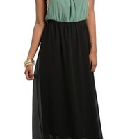 Colorblock me Haltered Olive/Black Maxi Dress