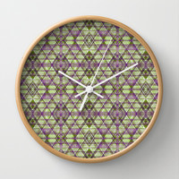 Geometric Grunge Pattern Wall Clock by Danflcreativo