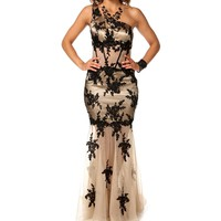 Paris-Nude Embroidered Prom Dress