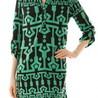 Jade Three-fourth Sleeve Print Dress