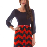 Navy and Red Nautical Chevron Belted Dress