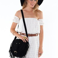Bohemian Inspired Black Fringed Crossbody Bag with Rhombus P