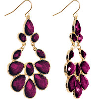Gold Tone Passionate Purple Faux Stone Chandelier Earrings | Body Candy Body Jewelry