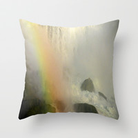 Waterfall and Rainbow  Throw Pillow by Sari Klein