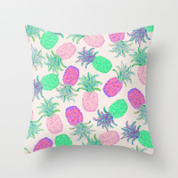 Pineapple Pandemonium Pink Punch Throw Pillow by Lisa Argyropoulos