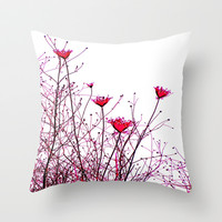 modern pink floral design  Throw Pillow by Sari Klein