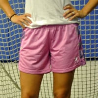 Girls Mesh Lacrosse shorts in Pink Plaid | Lacrosse Unlimited