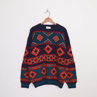 Southwestern Sweater Southwest Sweater Tribal Sweater Tribal Print Sweater Oversize Sweater Hipster 80s Sweater Navy L XL Extra Large XXL