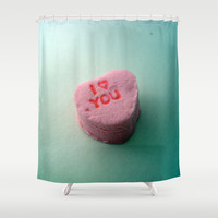 I Heart You candy heart Shower Curtain by CAPow!