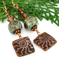 Copper Ammonite Lampwork Handmade Earrings Swarovski Fossil Jewelry | ShadowDogDesigns - Jewelry on ArtFire