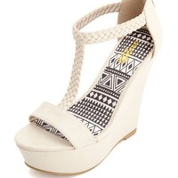BRAIDED T-STRAP PLATFORM WEDGE SANDALS