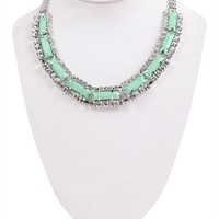 Coiled Chain Statement Necklace with Colored Stones