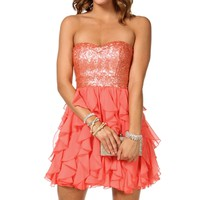 Claret- Coral Strapless Short Prom dress