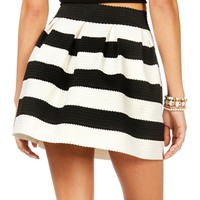 Pre-Order BlkWht Rubber Band Striped Skirt