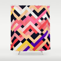 Coral and Black No. 1 Shower Curtain by House of Jennifer