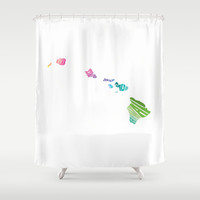 Typographic Hawaii in Spring Shower Curtain by CAPow!