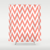 Chevronzag in Coral Shower Curtain by House of Jennifer
