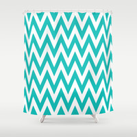 Chevronzag in Teal Shower Curtain by House of Jennifer