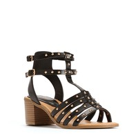 Studded Black Strappy Sandals
