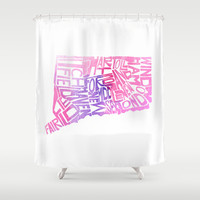 Typographic Connecticut - pink watercolor Shower Curtain by CAPow!