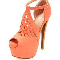 LATTICE CUT-OUT PEEP TOE PLATFORM HEELS
