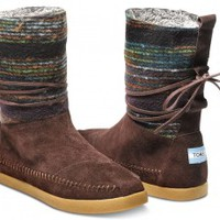 Brown Wool Stripe Women's Nepal Boots