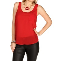 Red Basic Front Pocket Tank Top