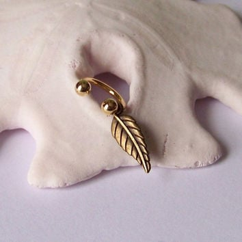 Gold Belly Button Ring - Belly Button Jewelry - Antiqued Brass Leaf Belly Ring - Choose Your Ring Style