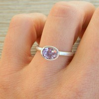 Horizontal Lavender Amethyst Ring in Matte by onegarnetgirl