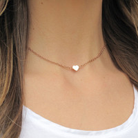 SHOP SALE - Tiny Rose Gold Heart Necklace 14k Gold Fill