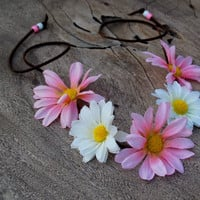 Flower Daisy Headband Halo Crown Pink & White - Boho Hippie Coachella Festival Rave EDC Wedding