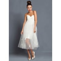 Net Gauze Vintage Strapless Sweetheart Neckline Wedding Dress