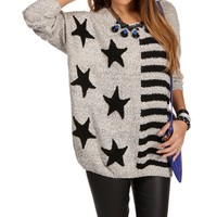 SALE-Oatmeal/Black Stars And Stripes Sweater