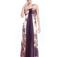 Ever Pretty Printed One Shoulder Ruching Chiffon Long Evening Party Dress 09356