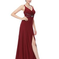 Ever Pretty Sexy Red Low-cut Long Party Dress/ Evening Gown 06001