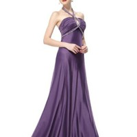 Ever Pretty Ruffles Adjustable Halter Rhinestones Party Evening Dress Size 09689