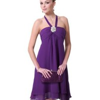 Ever Pretty Diamante Halter Chiffon Padded Ruffles Party Bridesmaid Dress 03599