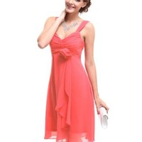Ever Pretty Flower Unique Ruffles Empire Waist Cocktail Bridesmaid Party Dress 03266