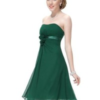 Ever Pretty Flowers Strapless Chiffon Padded Short Party Cocktail Dress Size 03538
