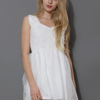 Floral Crochet Organza Mini Dress in White