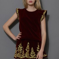 Golden Embroidery Velvet Top and Skirt Set in Wine