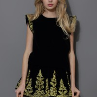 Golden Embroidery Velvet Top and Skirt Set in Black