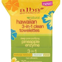 Alba Botanica® Hawaiian 3-In-1 Clean Towelettes Deep Pore Purifying Pineapple Enzyme