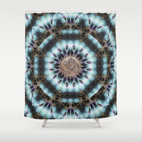 Om Shanti Fractal Geometry [ earthy aqua remix ] Shower Curtain by Webgrrl